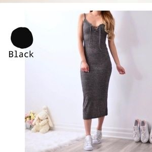 Black Bodycon Laced Ribbed Dress
